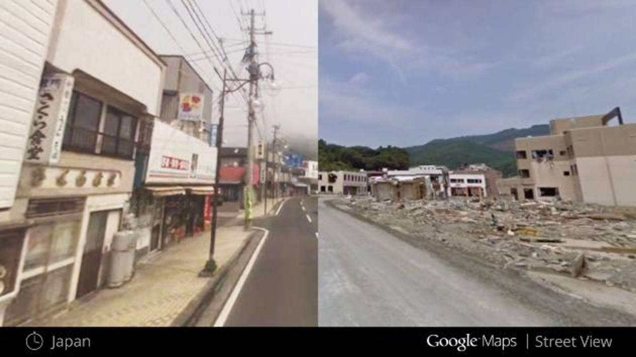 Imágenes de barrios de Japón que muestran como se veían antes y después del terremoto en marzo de 2011. Foto EDH