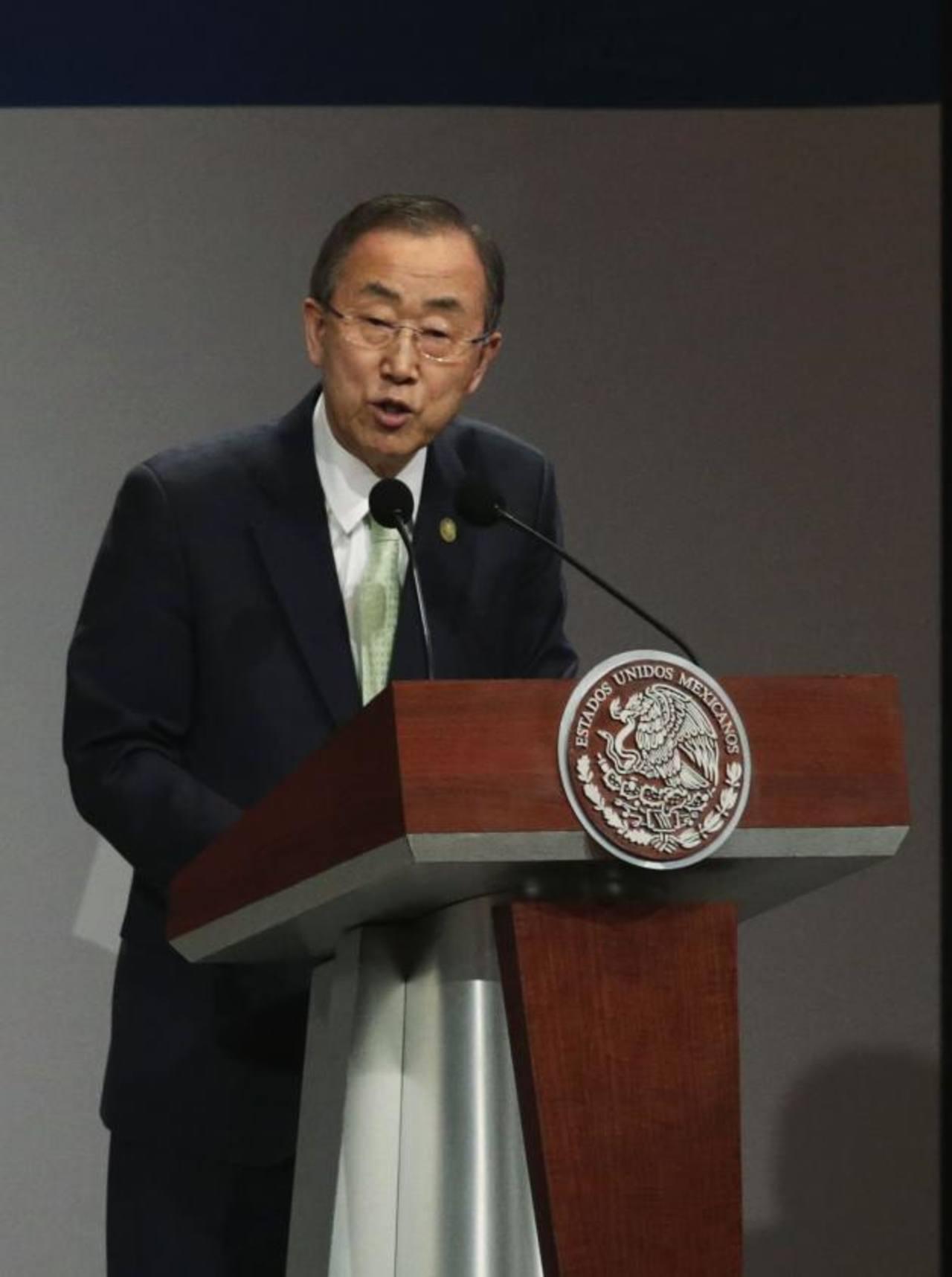 Ban Ki-moon durante la reunión de la Alianza mundial para el desarrollo efectivo de cooperación en la ciudad de México. foto edh / reuters