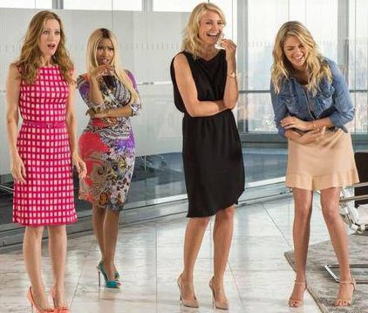 """En esta imagen de 20th Century Fox se ve a Leslie Mann, Nicki Minaj, Cameron Diaz y Kate Upton en una escena de la película """"The Other Woman""""."""
