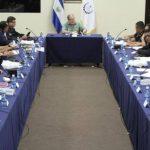 El Ministro de Seguridad Pública, Ricardo Perdomo, se reunió con la alta jefatura de la Policía Nacional Civil. FOTO EDH Cortesía Ministerio de Seguridad Pública.
