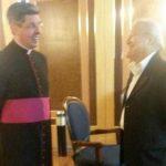 El presidente electo Salvador Sánchez Cerén a su llegada al Vaticano.