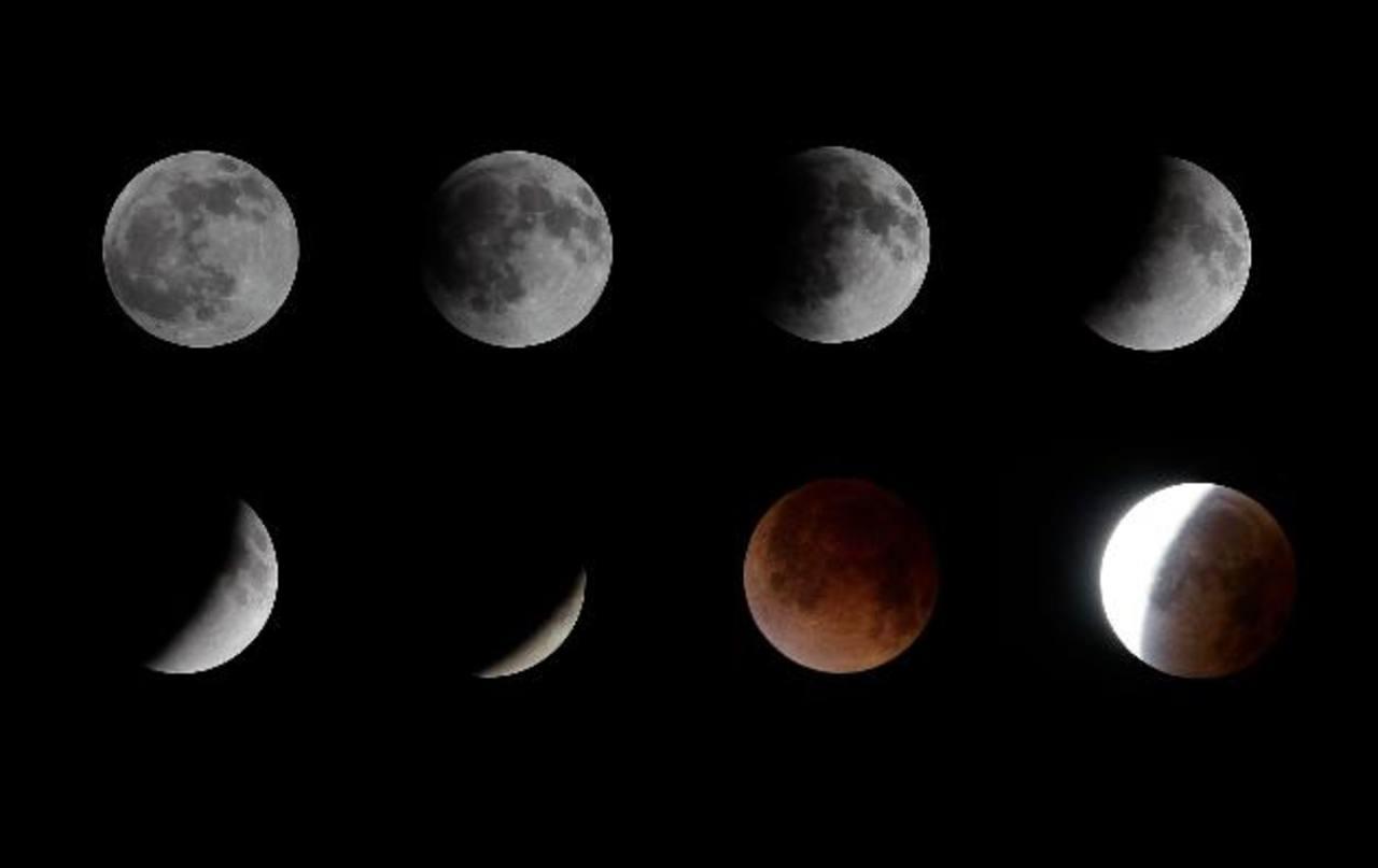 La secuencia del eclipse luna que se apreció en El Salvador.