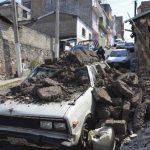 Daños en una calle de Chipalcingo, por el sismo de 7.2 del viernes.