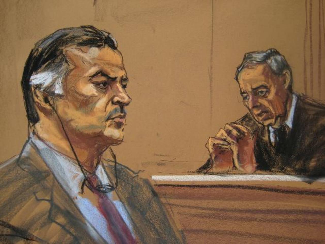 El expresidente guatemalteco Alfonso Portillo y el juez Robert Patterson, representados en un dibujo, durante la audiencia en la Corte de Distrito de Nueva York, en EE. UU. foto edh / Reuters