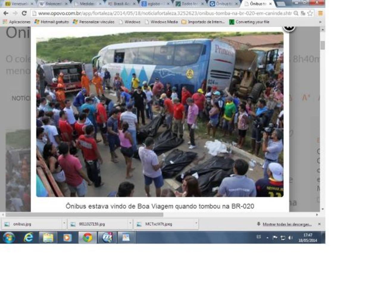 En el momento del accidente viajaban en el autobús un total de 41 personas. Foto edh / tomada de www.opovo.com.br/