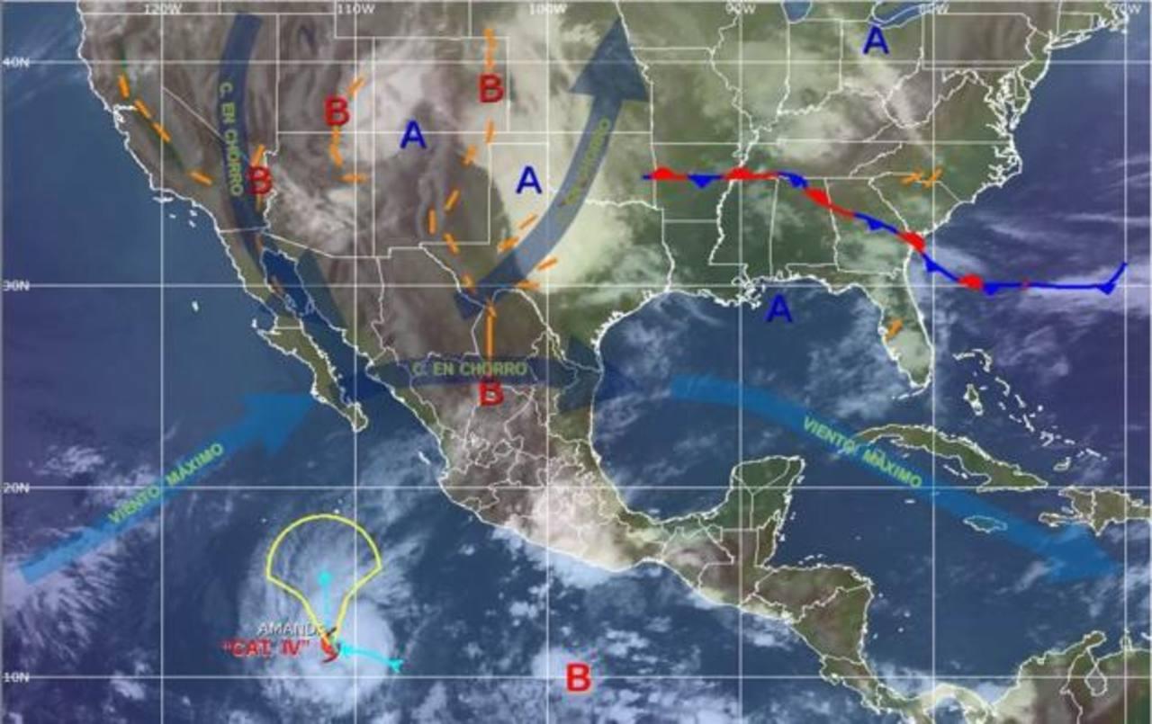 El huracán Amanda se intensificó ayer por la madrugada sobre el Pacífico.