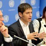 El ministro de Economía de Argentina, Axel Kicillof, habla junto al ministro de Relaciones Exteriores, Héctor Timerman, y la embajadora argentina ante la ONU, María Cristina Perceval, durante una conferencia de prensa después de la reunión del G77 má