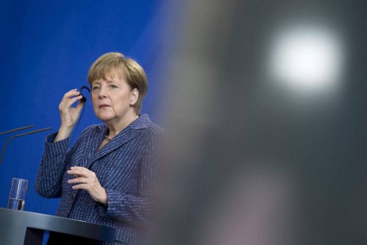 En la imagen la canciller alemana, Angela Merkel, durante una conferencia de prensa con el primer ministro de Georgia.