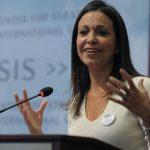 La dirigente opositora venezolana María Corina Machado durante un acto público en marzo en Washington (EE. UU.) donde denunció lo que sucede en su país. foto edh / archivo