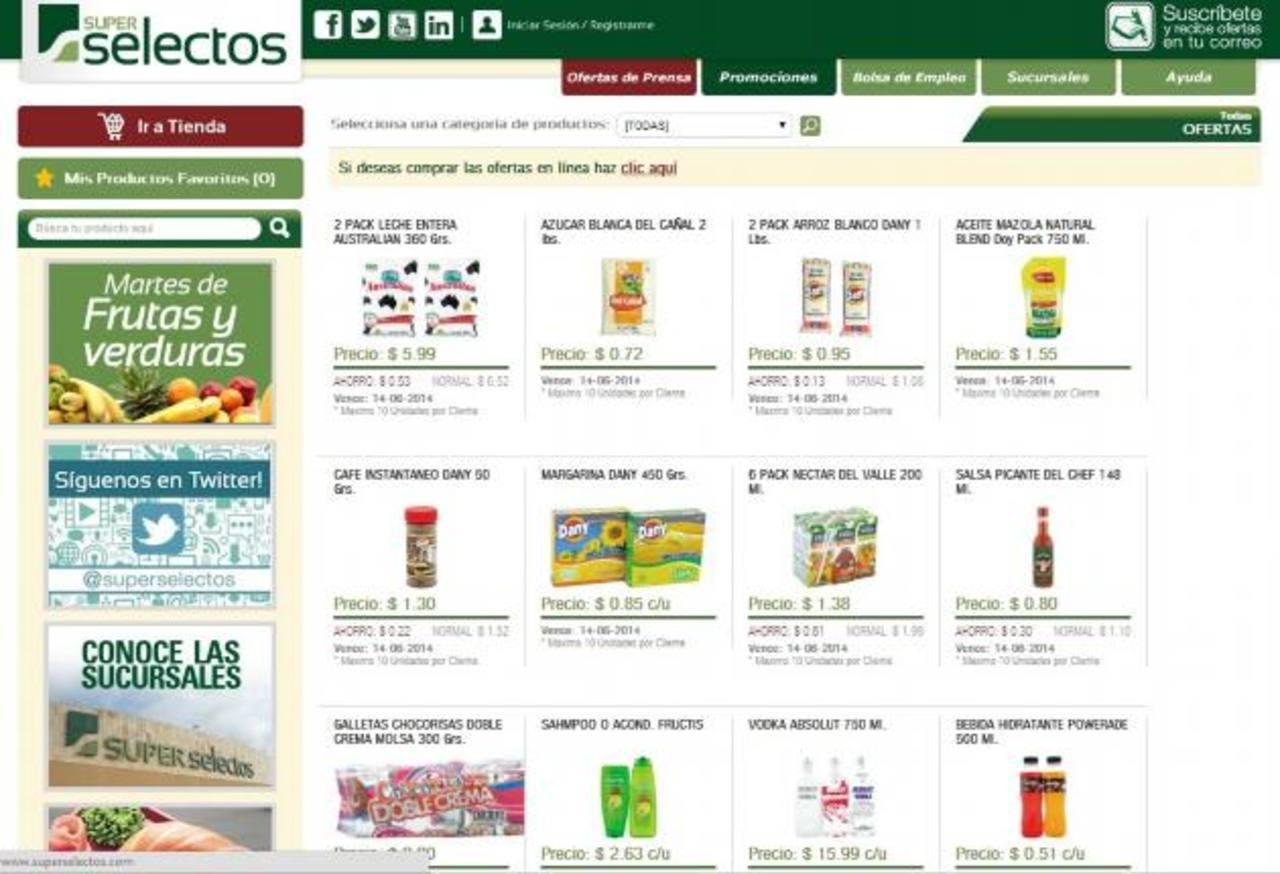 La tienda en línea ofrece productos varios, abarrotes, frutas y verduras y más. Foto EDH
