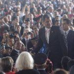 El presidente de Ecuador, Rafael Correa fue junto a Evo Morales, de los jefes de Estado más saludados durante la ceremonia. foto edh / MARVIN RECINOS