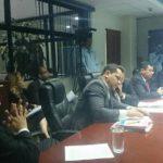 La comisión de antejuicio contra Ana Vilma de Escobar durante la reunión de hoy.