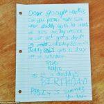 Carta de una niña solicitando un día libre para su padre