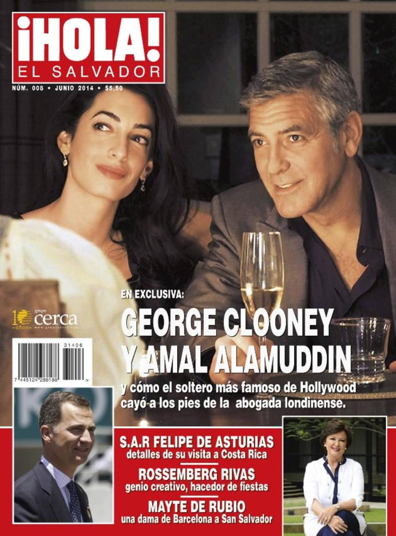 El actor George Clooney y su prometida Amal Alamuddin ocupan la portada de la revista.