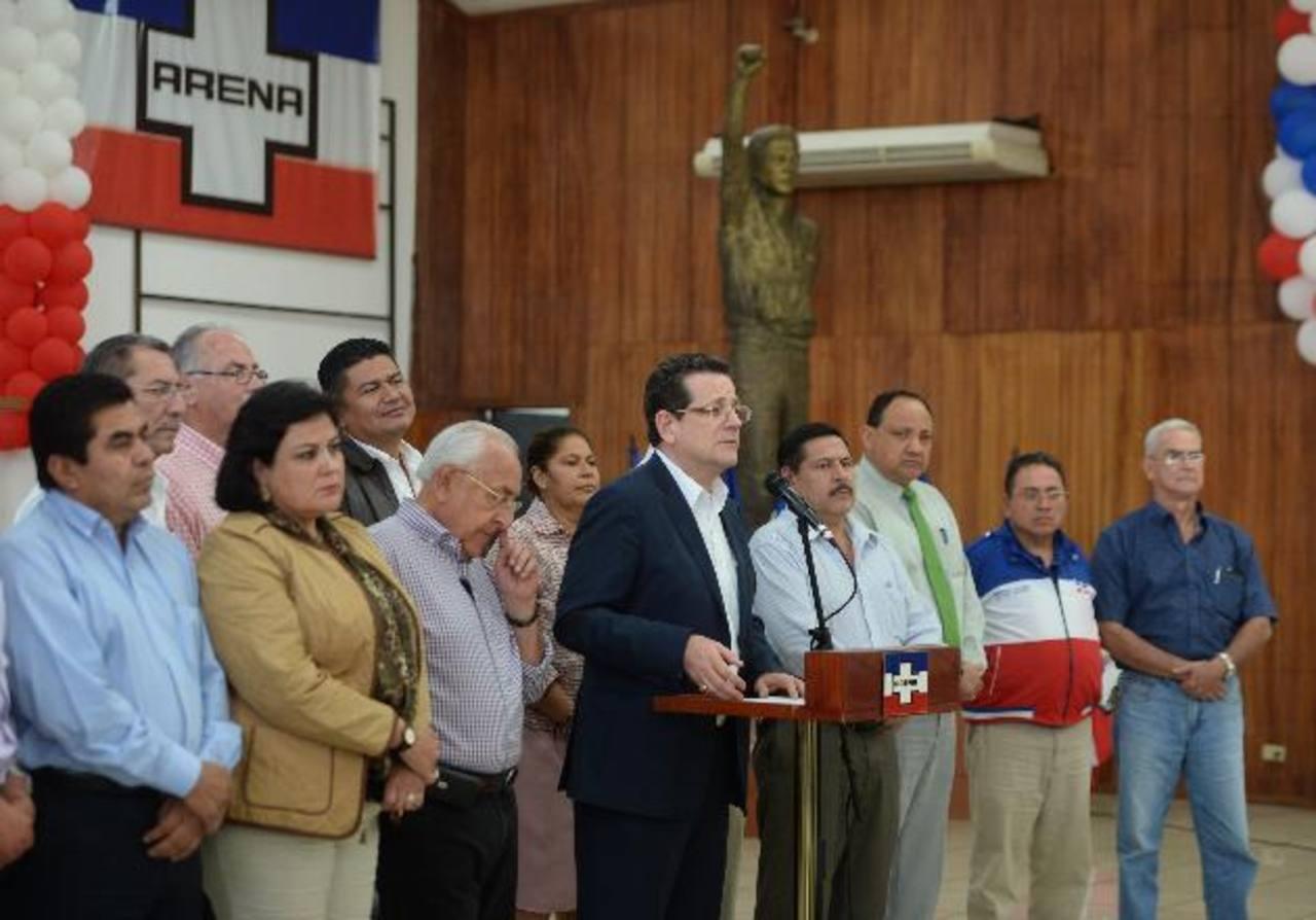 ARENA iniciará el jueves la inscripción de candidatos a diputados y alcaldes