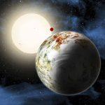"""En esta representación gráfica, el """"Kepler-10c"""" se encuentra en primer plano. Al fondo está el Kepler-10b, con su satélite rojo orbitando"""