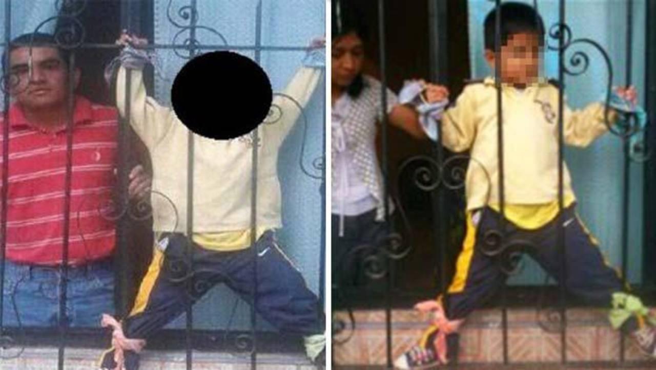 Padres castigan a su hijo amarrándolo a rejas de ventana
