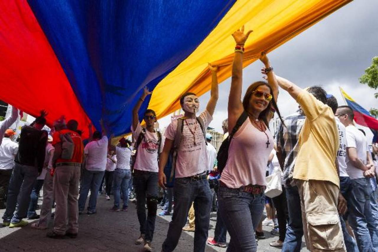 Simpatizantes de la oposición en una protesta en la plaza Brión de Chacaito, en Caracas.