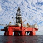 Vista de la plataforma petrolera West Pegasus, de Pemex, en aguas profundas del Golfo de México.