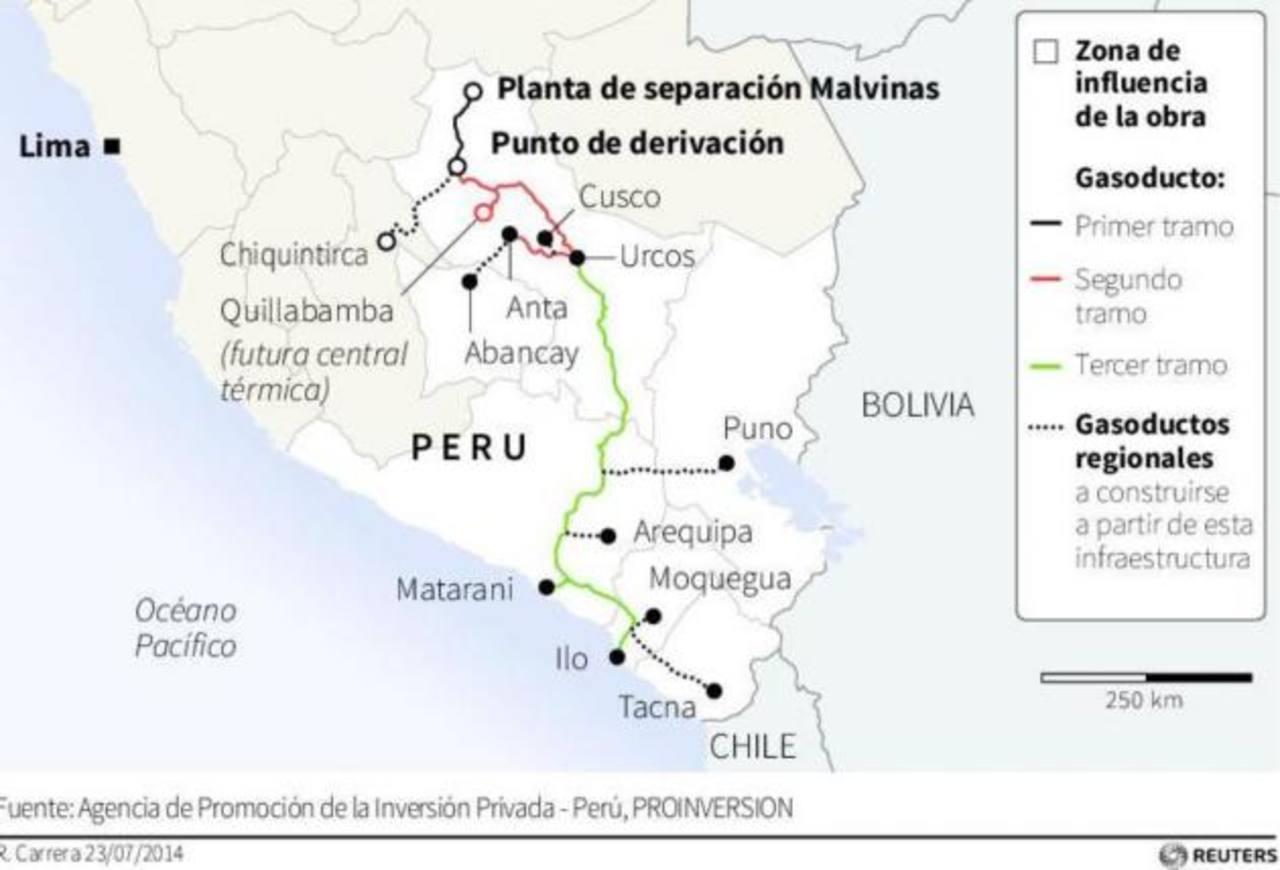El gasoducto, que representa una de las inversiones más grandes en Perú, nacerá en el yacimiento de gas natural de Camisea, en la región selvática del sur del país, y cruzará los Andes.