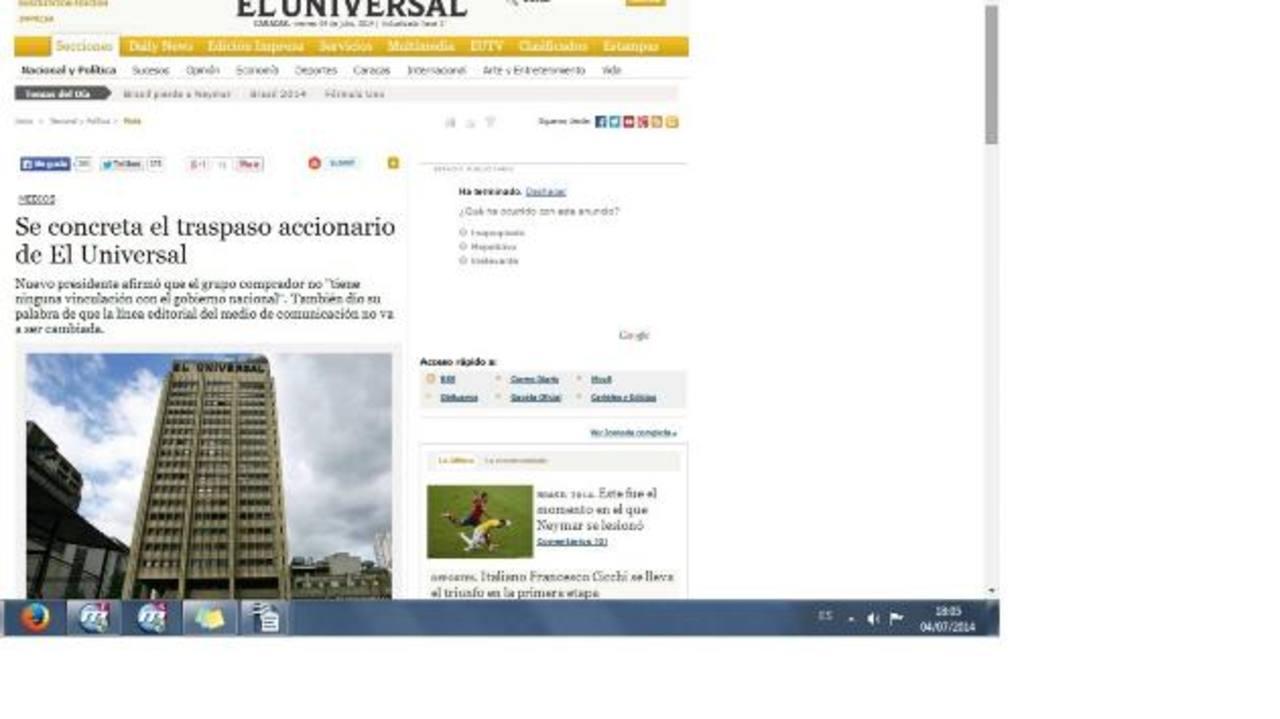 El periódico venezolano informó en su portal sobre la venta del medio a manos de un grupo español, pero aún no han revelado la identidad del nuevo propietario. foto edh