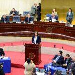 Presidentes Ma Ying-jeou y Salvador Sánchez Cerén luego de firmar declaratoria conjunta a favor de las relaciones diplomáticas Taiwán-El Salvador. FOTO EDH / MARVIN RECINOSLa diputada Ana Vilma de Escobar, de ARENA, habló en el podio antes de ser des