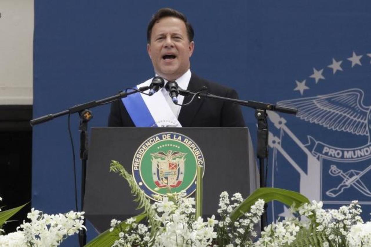 El presidente de Panamá, Juan Carlos Varela, durante su discurso.