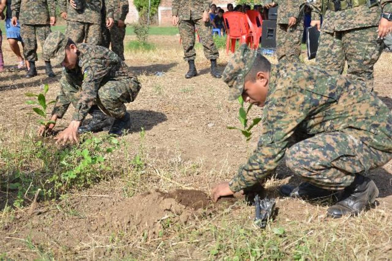 Los soldados del Destacamento Militar Número Seis colaboraron en la siembra de algunos árboles. Foto EDH / Iris Lima