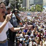María Corina Machado, durante una protesta en las calles de Caracas, el pasado marzo. foto edh / archivo