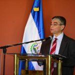 Dr. Ramón Rivas, Secretario de Cultura, en la rendición de cuentas ayer, en el Muna. foto EDH / Jorge Reyes.