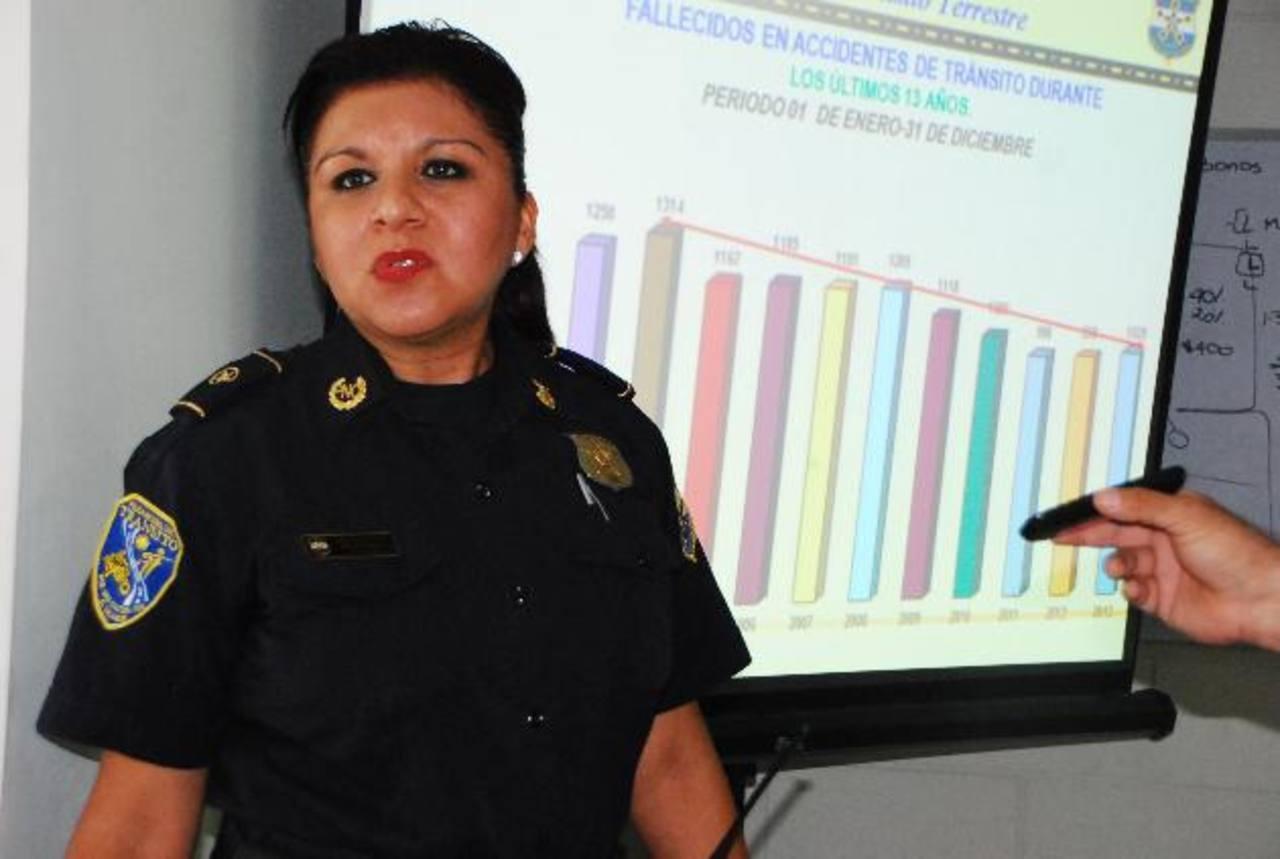 Subcomisionada aseguró que a nivel nacional esperan reducir los accidentes en un 10 por ciento. Foto EDH / JENNY VENTURA