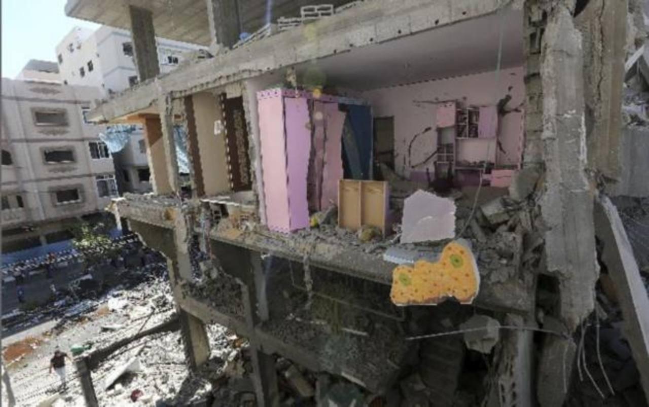 Edificio destruido debido a un bombardeo en Gaza.