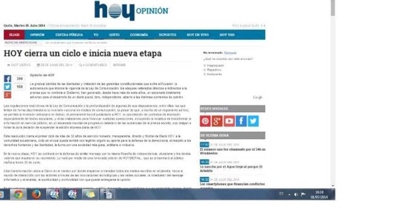 En el editorial indican que cierran un ciclo pero abren otro en la web con HoyDigital y con el mismo mensaje crítico.
