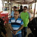 Los jueces antimafia de San Miguel, Enrique Beltrán, Jorge González y Rodolfo Castillo, fueron llevados ayer a los tribunales. Foto EDH / Marlon Hernández