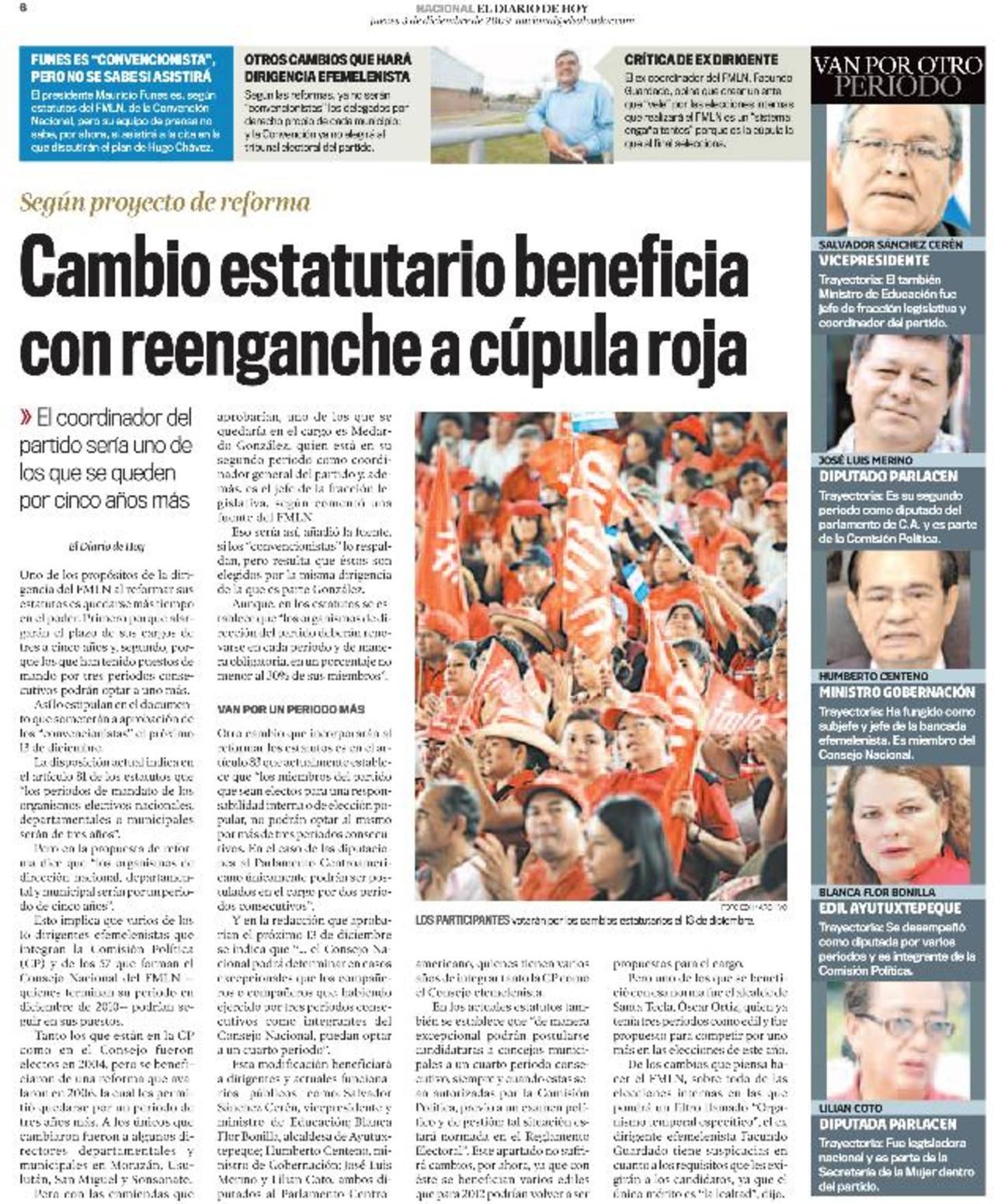 FMLN reformará estatutos para reenganchar a su misma dirigencia