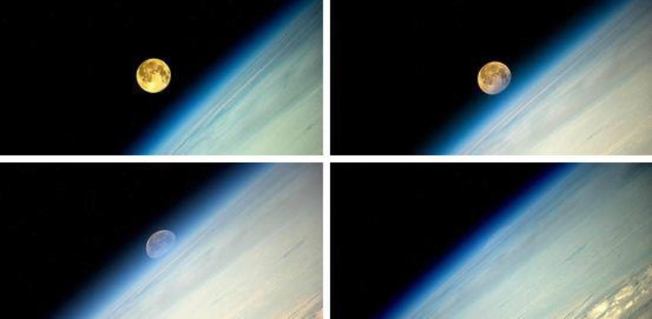 """El astronauta ruso Oleg Artemyev compartió las imágenes de la """"Superluna"""" desde el espacio."""