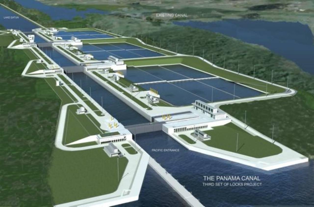 Diseño del tercer juego de esclusas que permitirán reciclar hasta 70 % del agua. Foto EDH Hasta la fecha, más de un millón de buques han transitado la ruta. Foto EDH /archivo