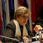 Secretaria CEPAL, Alicia Bárcena, presenta ahora Estudio Económico en Santiago, Chile.
