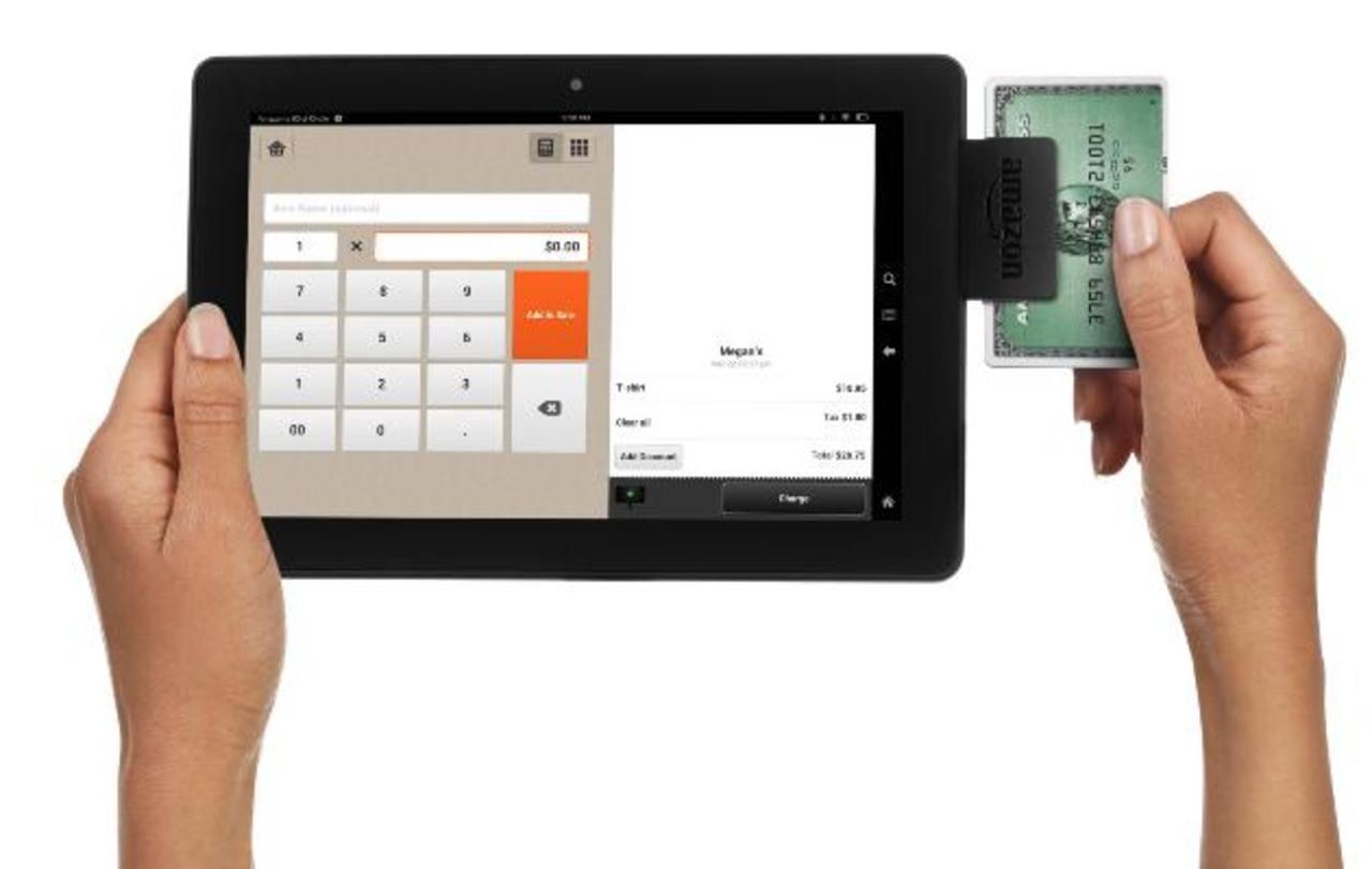 Esta imagen suministrada por Amazon muestra el sistema de pagos Amazon Local Register, el nuevo dispositivo y programa para procesamiento de tarjetas de crédito de la compañía.