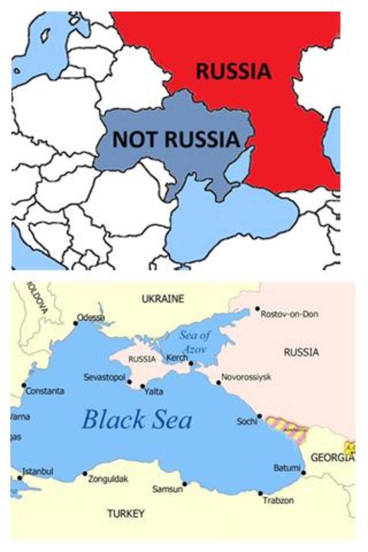 Esta imagen combinada muestra un mapa tuiteado por la Delegación Conjunta de Canadá ante la OTAN el miércoles (arriba) y un mapa tuiteado en respuesta el jueves por la Misión Permanente de Rusia ante la OTAN (abajo).
