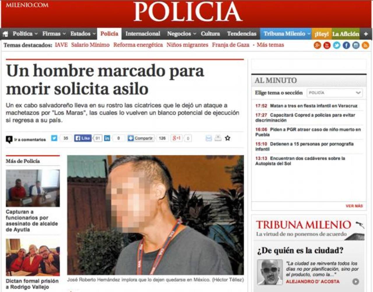 Publicación de Milenio sobre el excabo de la PNC que pide asilo por las pandillas. Foto EDH / archivo