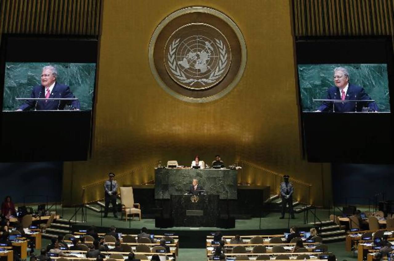 El presidente Salvador Sánchez Cerén pronunció, en 17 minutos, su discurso ante la Asamblea General de la ONU. Foto EDHEl mandatario también habló sobre el bloqueo a Cuba y la situación en el medio oriente. Foto EDH