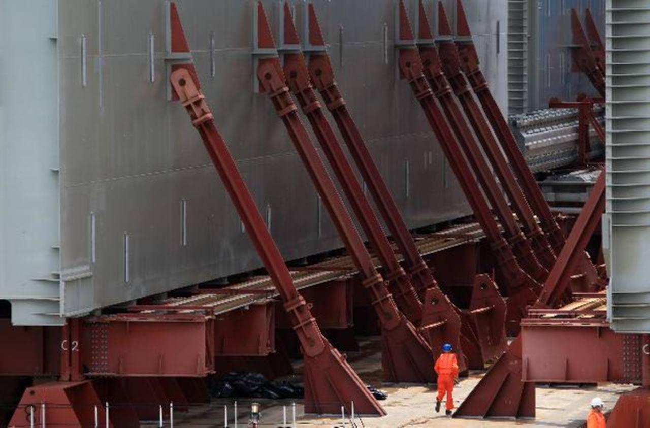 El embarque, con cuatro compuertas, arribó ayer a la entrada del Atlántico de la vía interoceánica, indicó la Autoridad del Canal de Panamá (ACP). Foto EDH / EFE