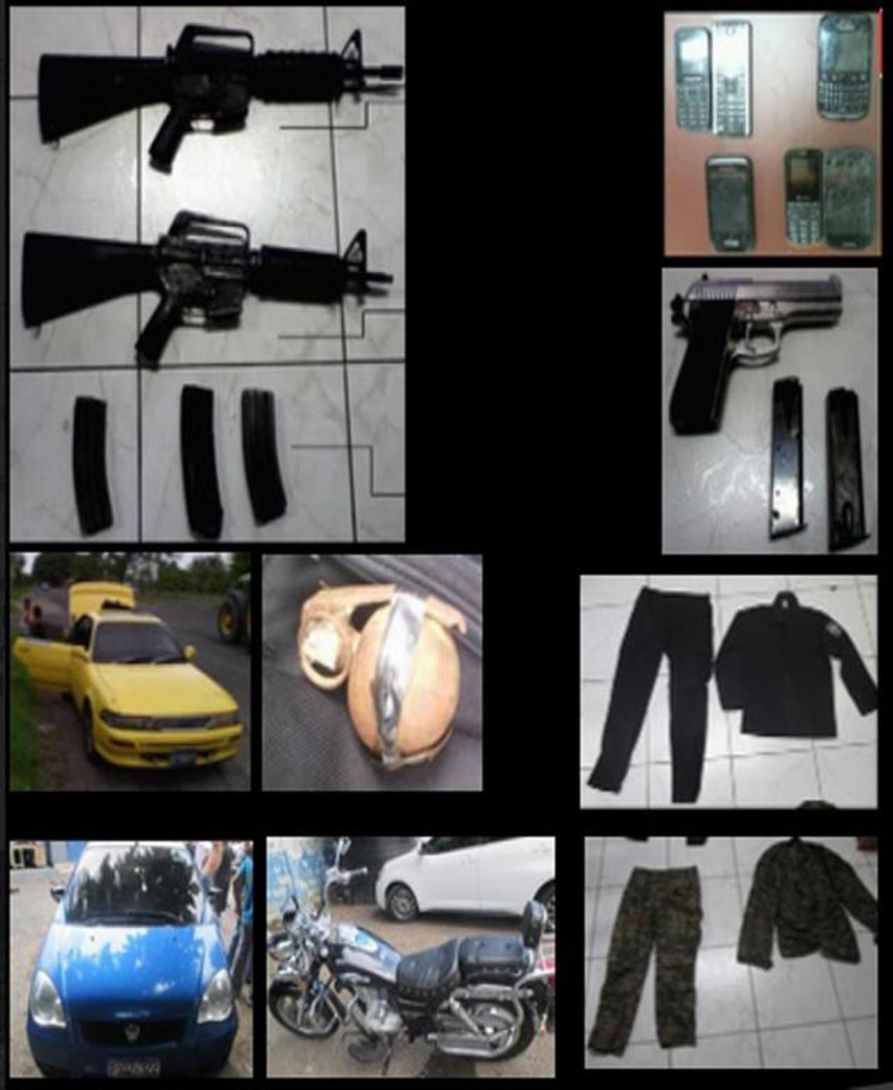 Parte del decomiso que realizaron los fiscales antiextorsión a los 28 pandilleros de la 18, detenidos en la comunidad Las Palmas. Extorsionaban a 29 comerciantes. Foto cortesía FGR.