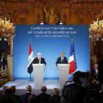 El presidente francés, François Hollande (d), y su colega iraquí, Fouad Massoum (i) en la conferencia antiterrorismo. foto edh / efe