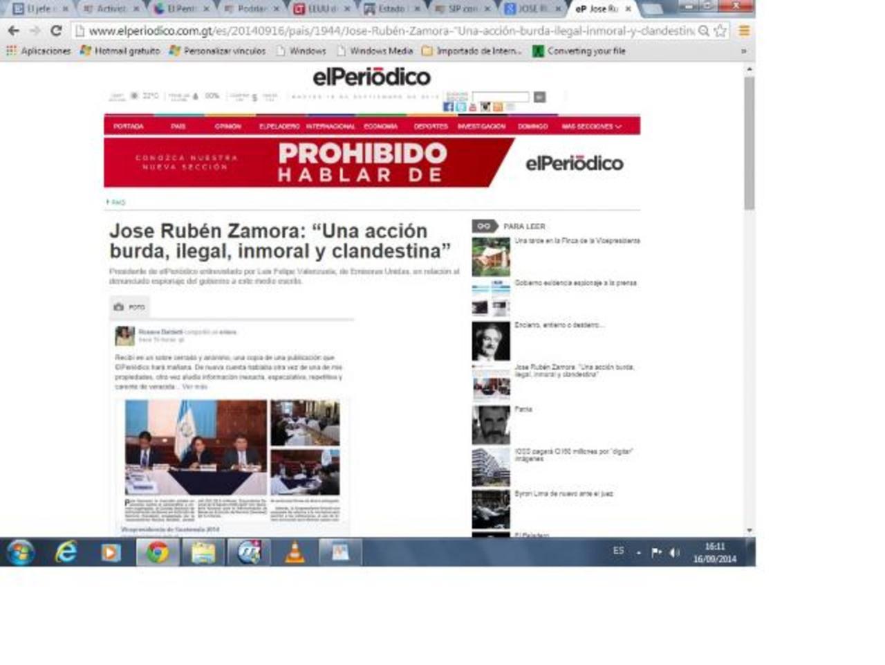 Imagen de la web de la denuncia del presidente de elPeriódico, José Rubén Zamora. foto edh / internet