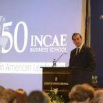 Roberto Artavia, Alejandro Poma y Ricardo Poma, a su llegada a la celebración 50 años de INCAE