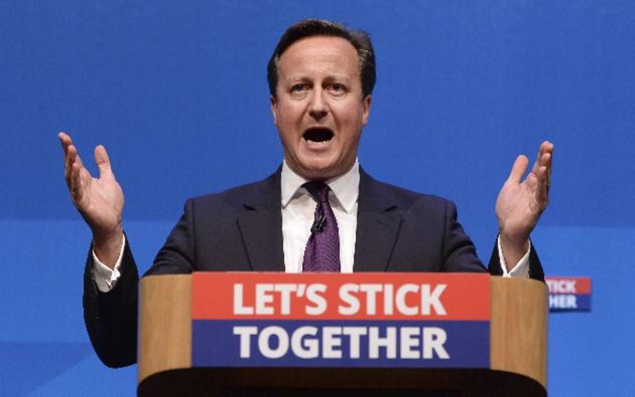 """El primer ministro británico, David Cameron, da un discurso titulado """"Mejor juntos"""" durante un acto celebrado en Aberdeen, Escocia, Reino Unido, el pasado 15 de septiembre. foto edh / efe"""