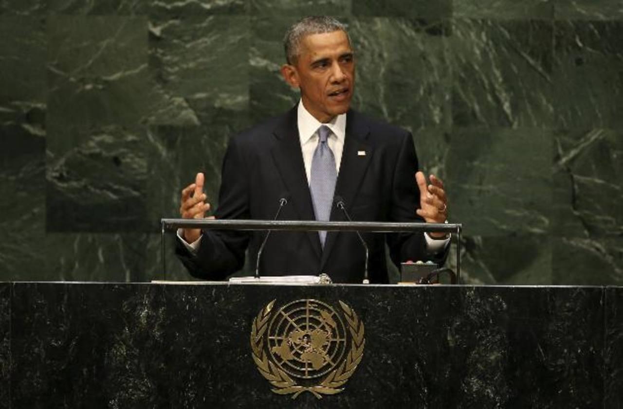 El presidente estadounidense, Barack Obama, ayer durante su intervención en la Asamblea General de las Naciones Unidas, celebrada en Nueva York, Estados Unidos. Foto EDH /EFE
