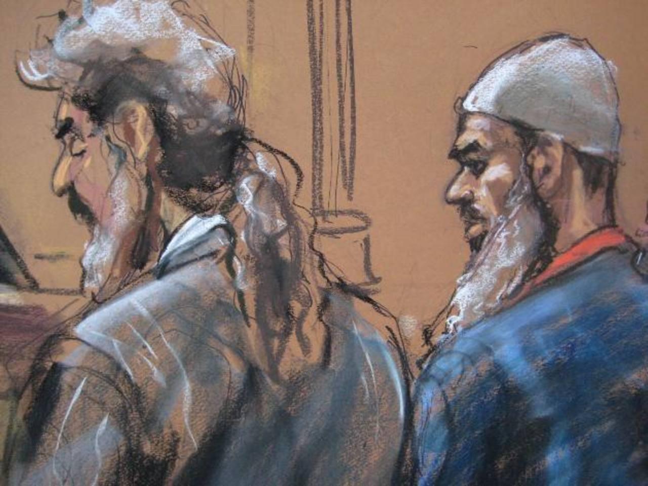 Suleiman Abu Ghaith (derecha) junto a su abogado Stanley Cohen en el tribunal federal en Nueva York. foto edh / Reuters